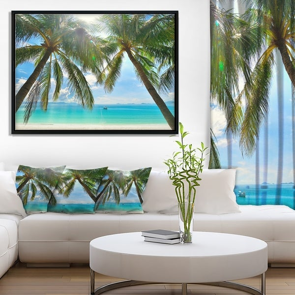 Designart 'Palm Hanging over Sandy White Beach' Seashore Photo Framed Canvas Art Print