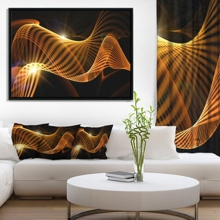 Designart 'Yellow 3d Shaped Fractal Design' Contemporary Abstract Framed Canvas