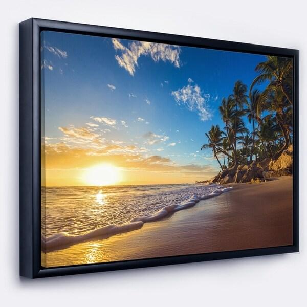 Designart 'Paradise Tropical Island Beach Sunrise' Seashore Framed Canvas Art Print