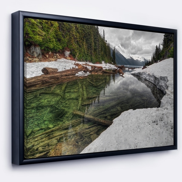 Designart 'Crystal Clear Lake with Pine Trees' Extra Large Landscape Framed Canvas Art Print