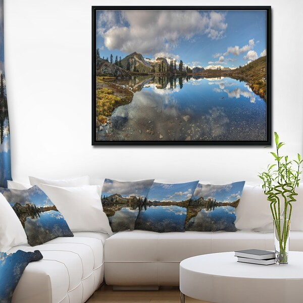 Designart 'Clear Lake with Pine Trees Panorama' Extra Large Landscape Framed Canvas Art Print
