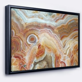 Designart 'Strips and Ovals on Agate' Abstract Framed Canvas Wall Art Print