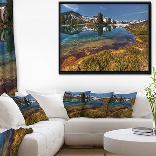 Designart 'Curving Mountain Lake Shore' Extra Large Landscape Framed Canvas Art Print