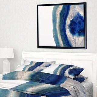 Designart 'Macro of Blue Agate Stone' Abstract Framed Canvas Wall Art Print