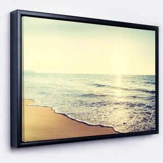 Designart 'Bright Seashore during Sunset' Seashore Framed Canvas Art Print