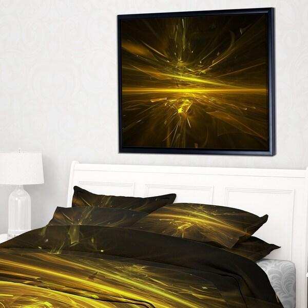 Designart 'Bright Golden Chaos Fractal Design' Contemporary Abstract Framed Canvas
