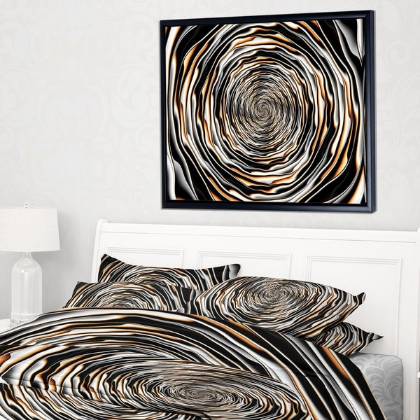 Designart 'Fractal Rotating Abstract Design' Large Abstract Framed Canvas Artwork