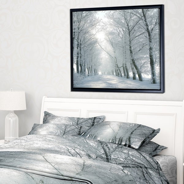 Designart 'Winter Road Backlit my Morning Sun' Forest Framed Canvas Art Print