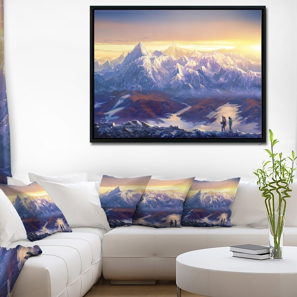 Designart 'Winter Mountains with Tourists' Landscape Framed Canvas Wall Art