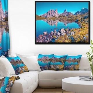 Designart 'Lago Rienza Ursprung Panorama' Large Seashore Framed Canvas Art Print