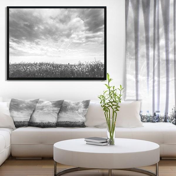 Designart 'Rapeseed Garden in Black and White' Large Landscape Framed Canvas Art
