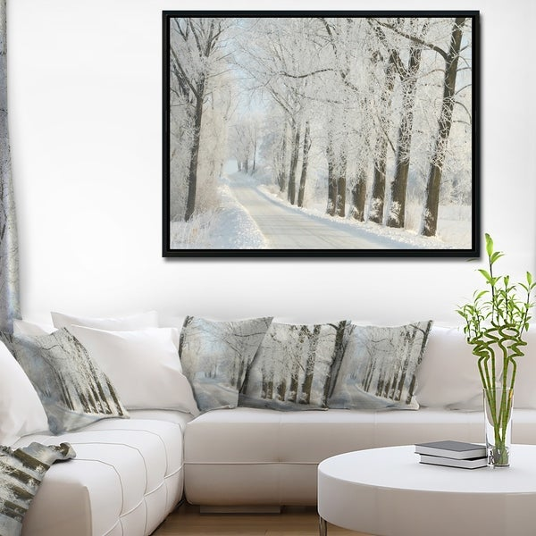Shop Designart \'Winter Rural Road Among Frosted Trees\' Forest Framed ...