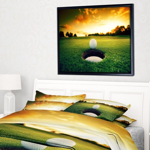 Designart 'Golf Ball Near Hole' Landscape Framed Canvas Art Print