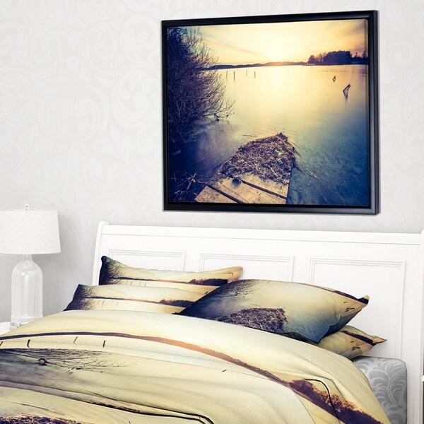 Designart 'Amazing Sunset over Clam Lake' Landscape Framed Canvas Art Print