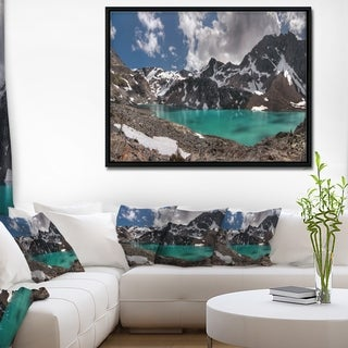 Designart 'Distant Mountains and Mountain Lake' Landscape Framed Canvas Art Print