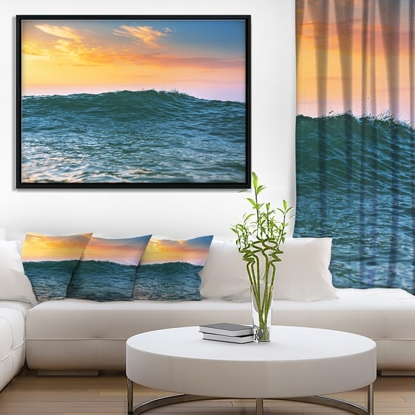 Designart 'Sunrise Light Shine on Sea Water' Large Beach Framed Canvas Wall Art