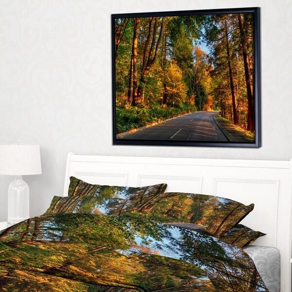 Designart 'Road through Lit up Fall Forest' Large Landscape Framed Canvas Art