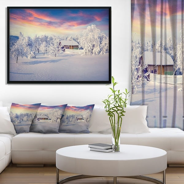 Designart 'Snowfall Covering Trees and Houses' Large Landscape Framed Canvas Art Print
