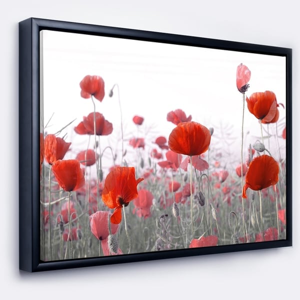 Designart 'Amazing Red Poppy Flower Garden' Flower Artwork on Framed Canvas