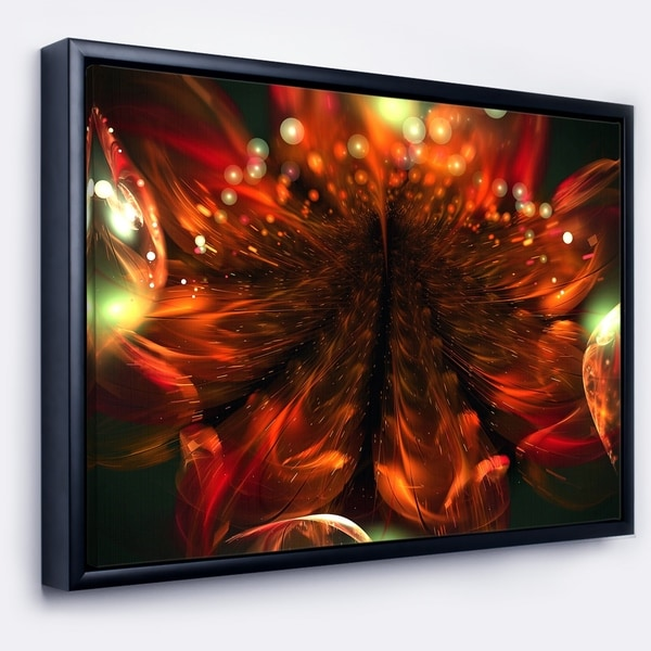 Designart 'Abstract Fractal Orange Flower' Floral Framed Canvas Art Print