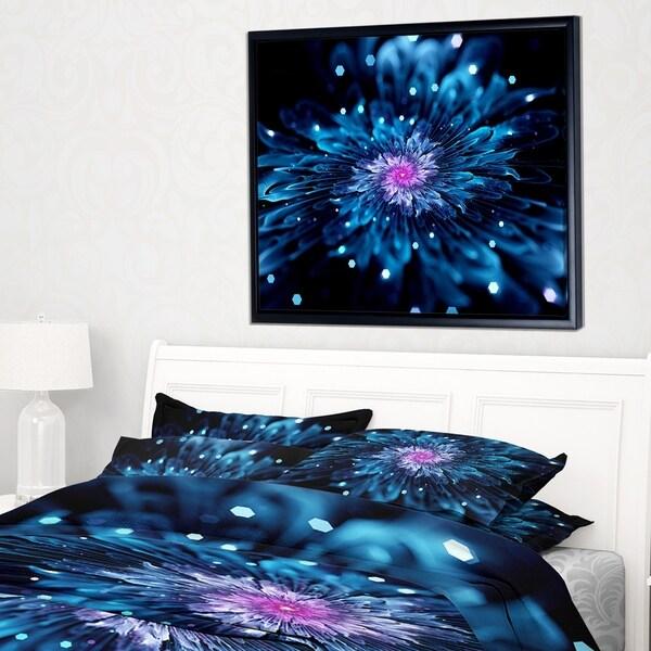 Designart 'Blue Fractal Flower with Shiny Particles' Flower Artwork on Framed Canvas