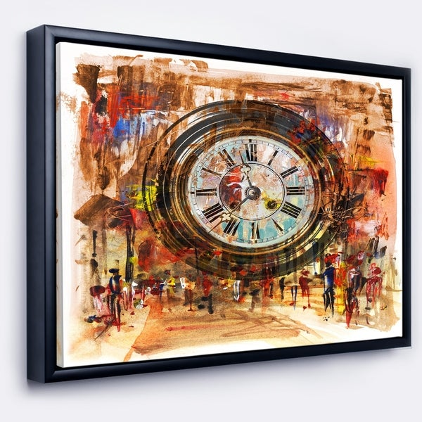 Designart 'People and Time Acrylic Painting' Large Abstract Framed Canvas Artwork