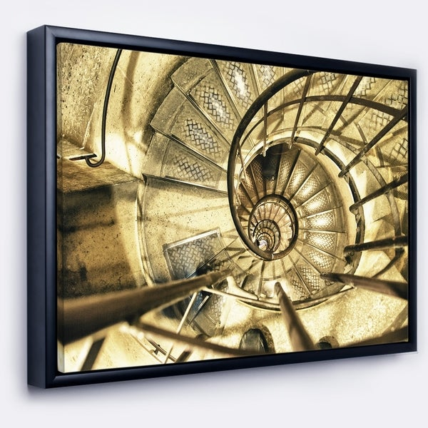Designart 'Architectural Detail of Paris in Winter' Abstract Framed Canvas Art Print