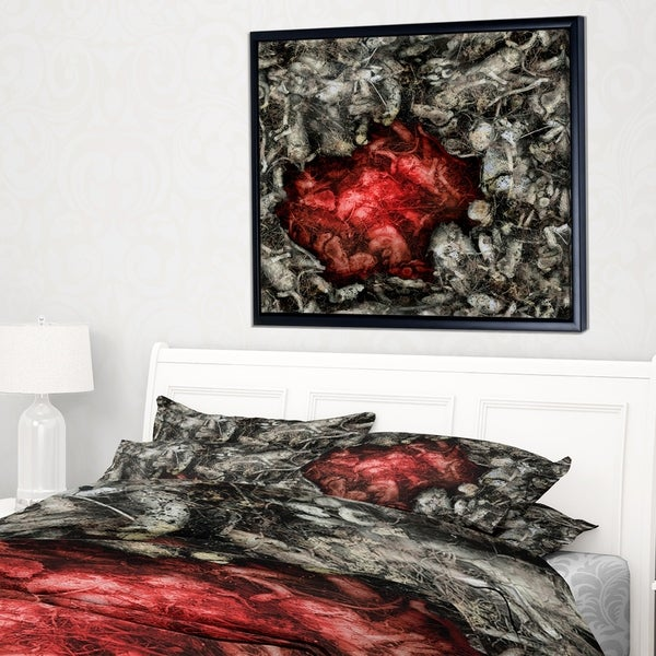 Designart 'Abstract Red Artistic Background' Large Abstract Framed Canvas Artwork