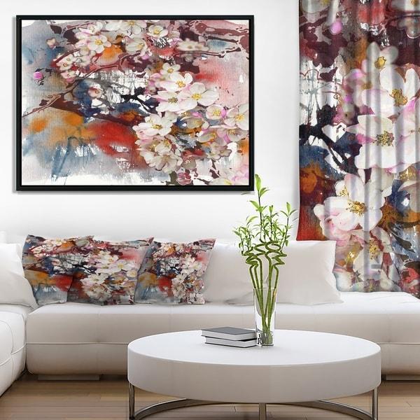 Designart 'Blossoming Apple Tree Background' Floral Art Framed Canvas Print