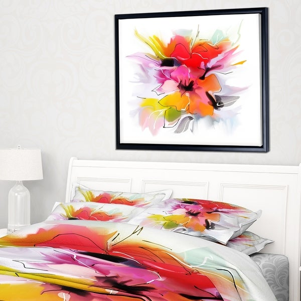 Designart 'Colorful Abstract Flowers on White' Extra Large Floral Framed Canvas Art