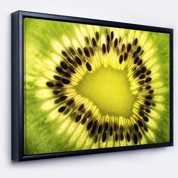 Designart 'Green Kiwi Seeds and Inside Pattern' Contemporary Framed Canvas Art Print