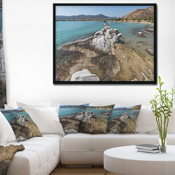 Designart 'Clean Waters and Rock Formations' Large Landscape Framed Canvas Art