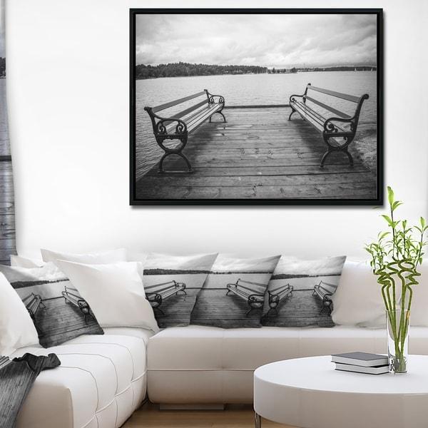Designart 'Benches on Bridge by Water Side' Bridge Framed Canvas Art Print
