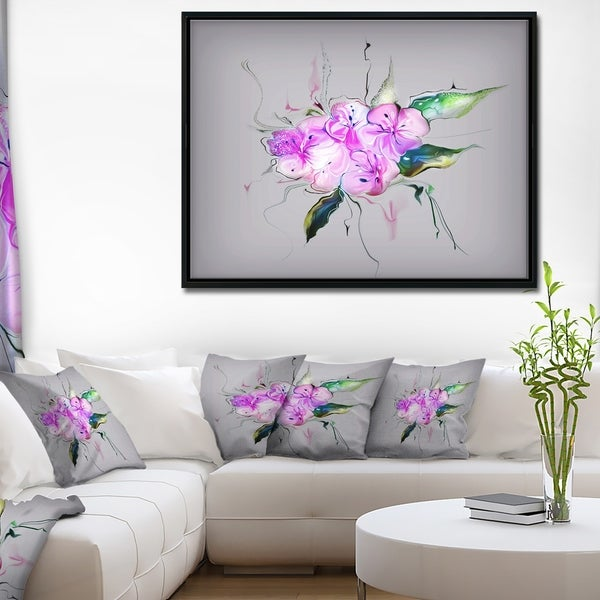 Designart 'Purple and Pink Pansies Flowers' Large Animal Framed Canvas Art Print