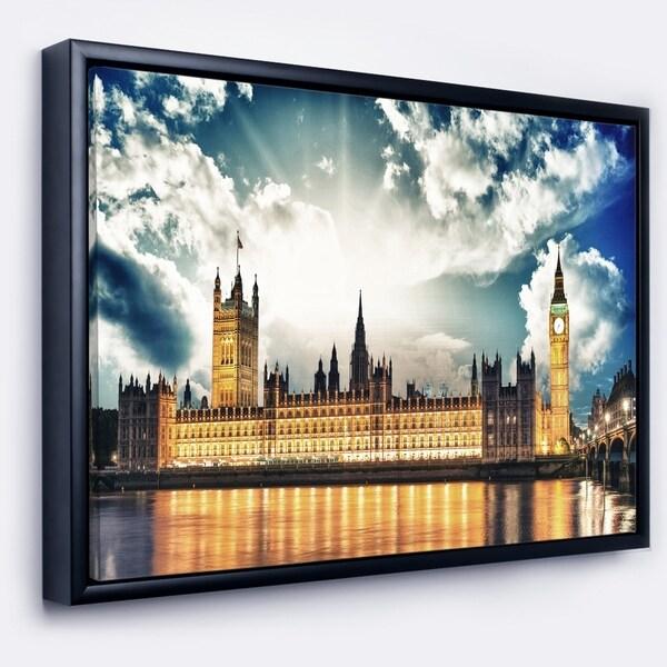 Designart 'Big Ben UK and House of Parliament' Extra Large Framed Canvas Art Print
