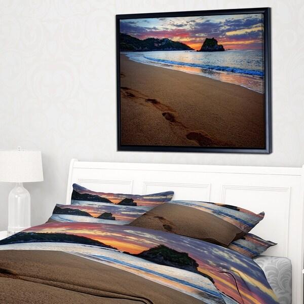 Designart 'Trodden Sand on Ocean Beach' Seashore Photo Framed Canvas Art Print