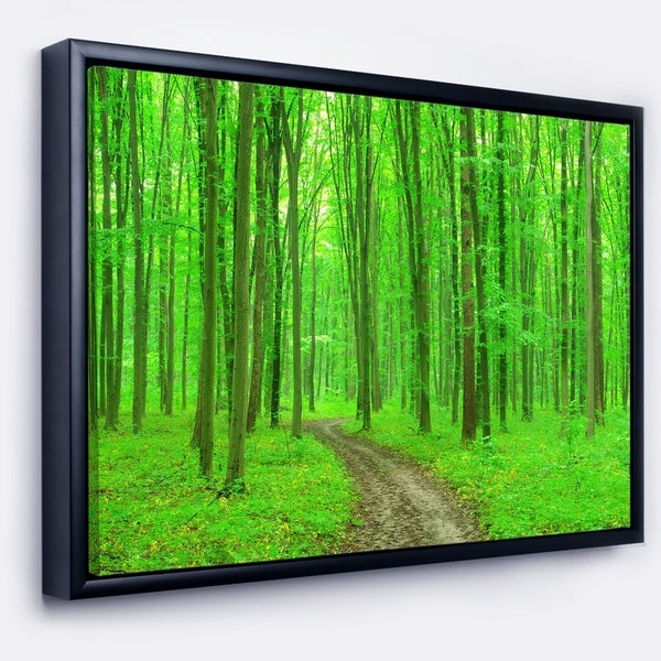 Designart 'Pathway in Bright Green Forest' Modern Forest Framed Canvas Art