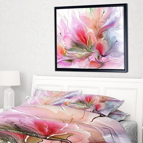 Designart 'Lovely Painted Floral Design' Extra Large Floral Framed Canvas Art