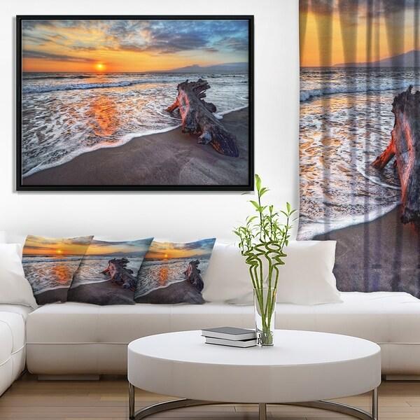 Designart 'Fantastic Sandy Shore at Sunset' Seashore Framed Canvas Art Print