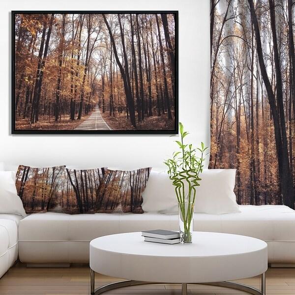 Designart 'Road in Autumn Golden Forest' Forest Framed Canvas Art Print