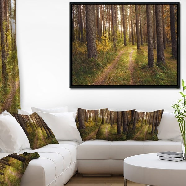 Designart 'Road through Thick Fall Forest' Modern Forest Framed Canvas Art