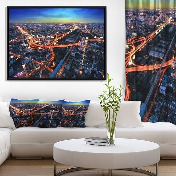 Designart u0026#x27;Bangkok Expressway Aerial Viewu0026#x27; Extra Large Framed Canvas & Designart u0027Bangkok Expressway Aerial Viewu0027 Extra Large Framed Canvas ...