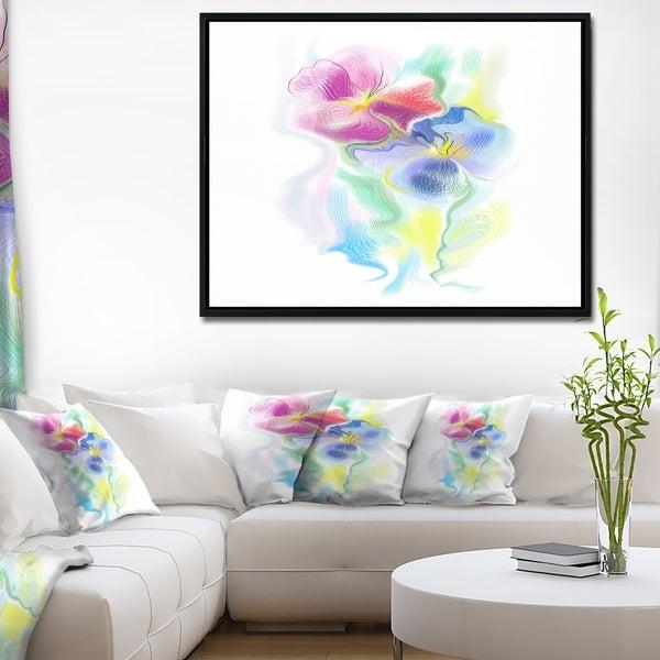 Designart 'Colorful Floral Watercolor Sketch' Extra Large Floral Framed Canvas Art