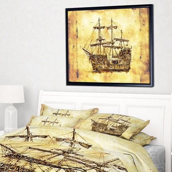 Designart 'Old Travelling Boat Drawing' Seashore Wall Art on Framed Canvas