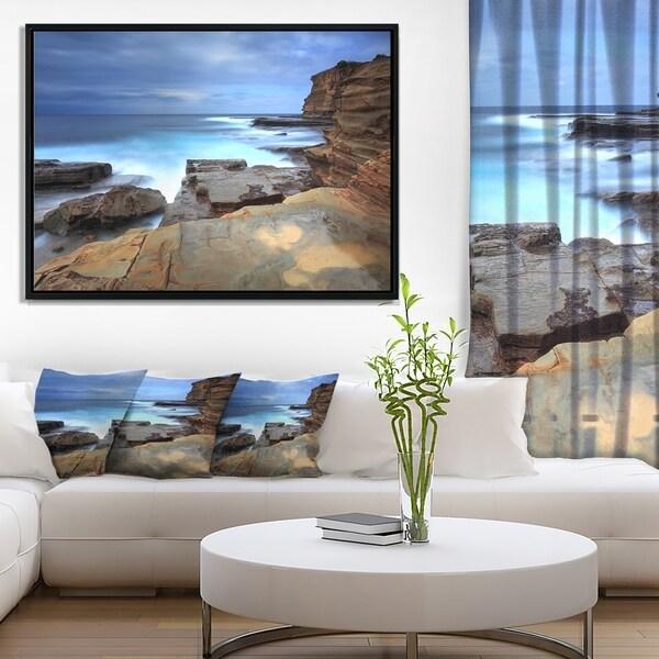 Designart 'Terrigal Skillion NSW Australia' Seashore Framed Canvas Art Print
