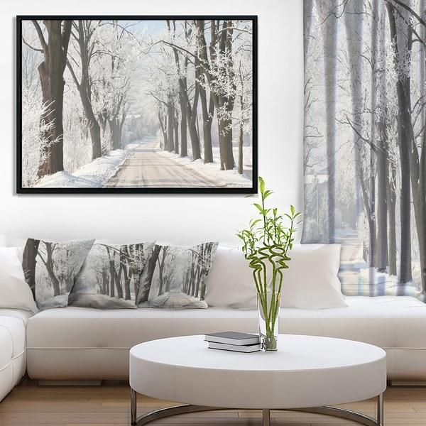 Designart 'Winter Lane in Countryside' Large Forest Framed Canvas Art Print