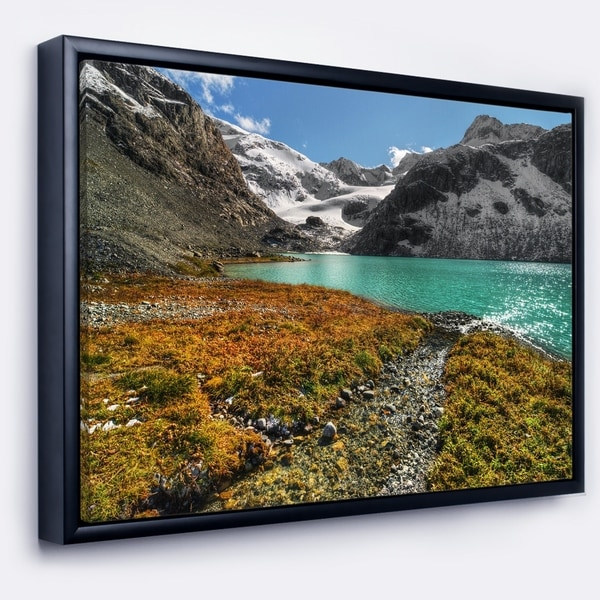 Designart 'Crystal Clear Lake among Mountains' Landscape Framed Canvas Art Print