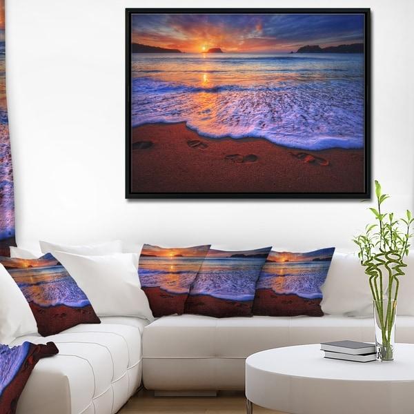 Designart 'Colorful Sunset Over Beautiful Shore' Seashore Framed Canvas Art Print