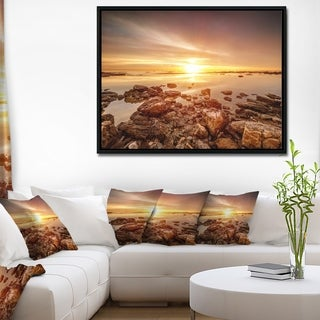 Designart 'Beautiful Sunset Over Rocky Beach' Large Seashore Framed Canvas Art Print