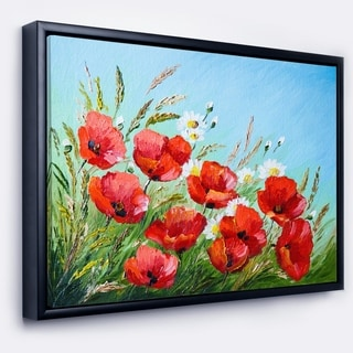 Designart 'Poppies in Field against Blue Sky' Floral Framed Canvas Art Print